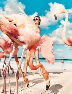 Pink flamingo beach, Nimue Smit poses in Aruba for Vogue Netherlands July 2015 shot by Marc de Groot Foto Fashion, Fashion Shoot, Fashion Art, Editorial Fashion, Vogue Editorial, Summer Editorial, Indian Fashion, Beach Editorial, Jewelry Editorial
