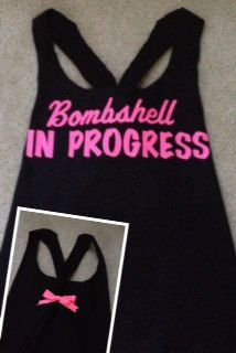Bombshell in Progress Workout Tank Top by RufflesWithLove on Etsy. , via Etsy. Workout Attire, Workout Wear, Workout Outfits, Gym Style, Fitness Style, Pole Fitness, Fitness Gear, Fitness Diet, Gym Gear