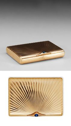 Gold Cigarette Case with Sapphire / St. Petersburg 1899-1908