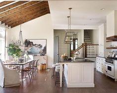 Swiss Coffee white and wood kitchen and bar stools | Anna Braund