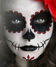 Face paint on pinterest candy skulls skulls and candy skull makeup - Maquillage dia de los muertos ...