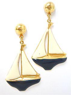 Vintage Enamel Nautical Sail Boat Earrings - EA194. $8.00, via Etsy.