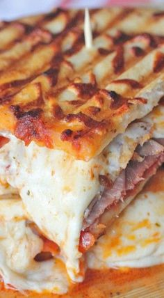 Pizza Panini! Would be so delicious on Ciabatta with a Caesar Salad!