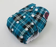 One Size AI2 Cloth Diaper Aqua Plaid