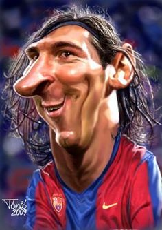 Lionel Messi (Barcelona) by Tonió Cartoon Faces, Funny Faces, Cute Cartoon, Cartoon Art, Cartoon Characters, Funny Caricatures, Celebrity Caricatures, Lionel Messi, Caricature Artist