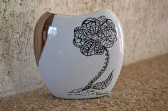 Vase porcelaine décor main pièce unique