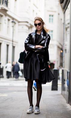 High shine leather jacket