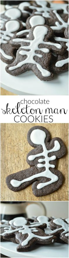 Chocolate Cut Out Cookies that are perfect for Halloween! Chocolate Skeleton Men Cookies are simple, fun treats!