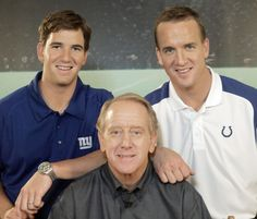 Eli and Peyton Manning with their father Archie in 2008