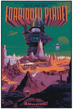 Forbidden Planet poster by Laurent Durieux this was a really good old sci fi film. movie -Watch Free Latest Movies Online on Horror Movie Posters, Classic Movie Posters, Movie Poster Art, Cinema Posters, Print Poster, Science Fiction Art, Pulp Fiction, Laurent Durieux, Planet Movie