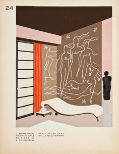 "Prints from ""Décoration moderne dans l'intérieur"" by Henry Delacroix. 1930. Paris. Pochoir-process prints. Via Ursus Books"