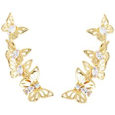 Kate Spade New York Social Butterfly Ear Pin Earrings (Clear/Gold)... ($48) ❤ liked on Polyvore featuring jewelry, earrings, sparkle jewelry, pin jewelry, gold jewelry, sparkling jewellery and clear earrings