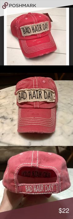 "Distressed Vintage ""Bad Hair Day"" Baseball Cap  This cap is the perfect year-round fashion accessory -- especially on those bad hair days. New. Never worn. One size fits most... Adjustable velcro back Accessories Hats"