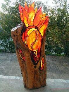 Wood on fire glass art  Beautiful..