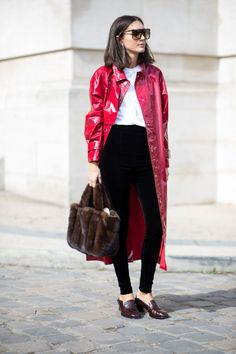 Classic, Button-Down Shirts Were A Popular Layering Piece in Paris Over the Weekend | Fashionista
