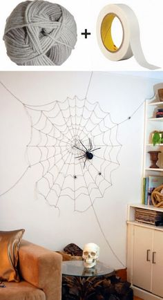 Check out this spider and cobweb Halloween décor. It may look complicated at first but itu0027s actually very easy to create. All you need is a masking tape and ... & How to make Spider Garland...these are the BEST Homemade Halloween ...