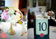 vintage wedding centerpiece and table number