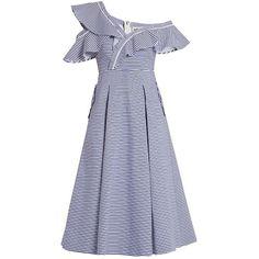 875e9c21a3b01f Self-Portrait - Blue One-shoulder Striped Cotton Dress - Lyst