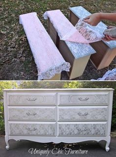 A good way for beginners to start their first upcycled piece of furniture. After painting an old chest of drawers or even a wardrobe, a pretty vintage look is achieved by using a selection of lace...