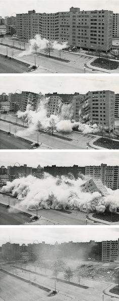 "Pruitt-Ioge by Minoru Yamasaki: Charles Jencks, ""Happily, we can date the death of Modern Architecture to a precise moment in time… Modern Architecture died in St. Louis, Missouri, on July 15, 1972 at 3:32 p.m. (or thereabouts) when the infamous Pruitt-Igoe scheme, or rather several of its slab blocks, were given the final coup de grace by dynamite"""