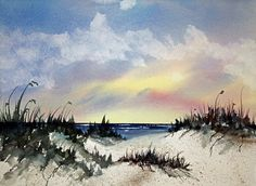 Beachscape Original Watercolor Painting Matted by traceemurphy
