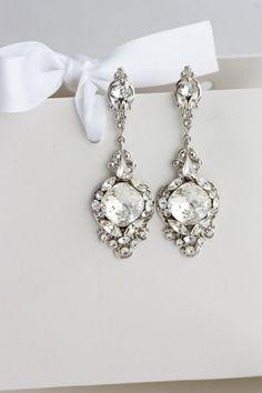 Kristall Hochzeit Ohrringe Vintage Braut Ohrringe von LuluSplendor