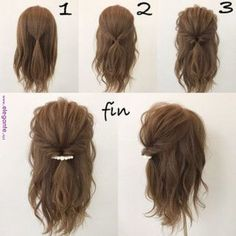 This hairstyle is easy and quick! Works best when you have a little curl on your hair, spray sea salt texturizing spray it to give you fullness and vo… - Coiffure Sites Pretty Hairstyles, Braided Hairstyles, Quick Easy Hairstyles, Hairstyle Ideas, Easy Hair Styles Quick, Short Hair Updo Easy, Easy Hairstyles For Medium Hair, Short Prom Hair, Short Hair Prom Styles