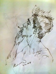Male Portrait, Man Smoking, Sketch with Extra Fine Sharpie, Line Drawing, by Saera.
