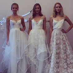 Brides.com: Spring 2015 Wedding Dress Trends. Trend: Tulle Overskirts. Two-for-one special, anyone? Tulle overskirts were popular on the Spring 2015 runways, and for good reason: They're not only pretty to look at, they give brides a big effect for the ceremony, with a built-in short reception dress hidden underneath.