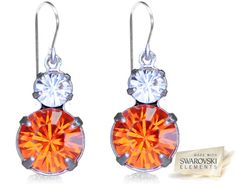 ORANGE & CRYSTAL TWO TIER DROP EARRINGS. NOW 80% OFF. YOU PAY $19.80.