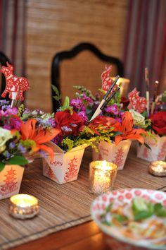 Create an amazing centerpiece using Chinese take out boxes. Tutorial in The…