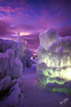 Castle of ice in Silverthorne, Colorado, USA