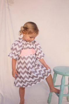 Girls chevron dress, chevron easter dress,Easter dress, pink and gray Valentines dress