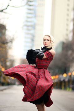 Discover this look wearing Red Tartan The Pretty Dress Company Dresses - Tartan by ChicagoChic styled for Dinner Party in the Fall 50s Dresses, Pretty Dresses, Sexy Dresses, Vintage Dresses, Wind Skirt, The Pretty Dress Company, Tartan Dress, Blonde Women, Vintage Lingerie