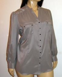 Style & Co. Gray Long Sleeve Button Front Blouse Versatile Sleeves - Size 22W