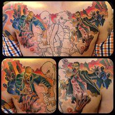 Chest tattoo zombie apocalypse tattoo