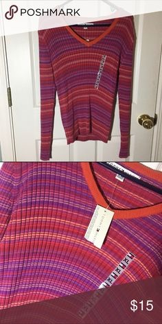 Tommy Longsleeve Very adorable colors with a v neck style! Perfect for the season and is brand new with tags, never worn! 100% made out of cotton and fits as a large! Make me an offer! Tommy Hilfiger Tops