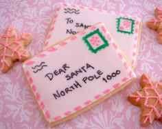 Letters To Santa Cookies....EASIER than u think...rectangle sugar cookies, flood with white royal icing..use COOKIE MARKERS from craft store for decoration!! ~butter hearts sugar