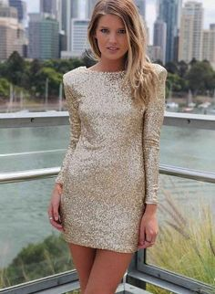 Gold Sequin Long Sleeve Bodycon Dress,  Dress, mini dress  party dress, Chic    http://www.ustrendy.com/store/product/69010/gold-sequin-long-sleeve-bodycon-dress