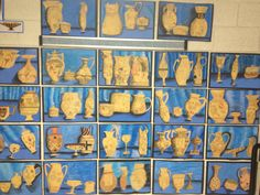 """""""Greek Vase"""" project for middle school students. We studied Greek Mythology. Students created their own modern-day myths on each vase (religious believes, modern day events, today's values of our modern society, today's super heroes....)."""