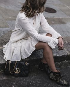 Boho flute sleeve dress, Chloe Susanna boots, Gucci Marmont bag, Summer style outfit