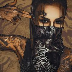 Welding the Punk into Cyberpunk : Photo Arte Dope, Dope Art, Dope Kunst, Body Art Tattoos, Girl Tattoos, Chicano Tattoos, Gangsta Girl, Digital Art Girl, Skull Art