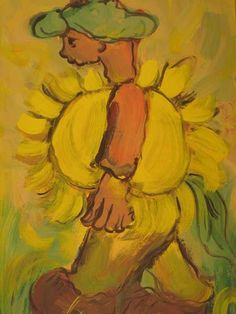 Man with Sunflower by Frans Claerhout