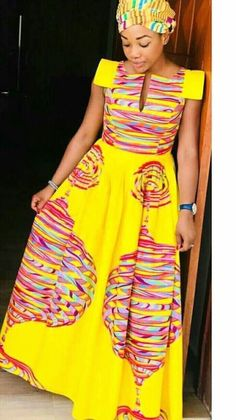 over 30 African yellow dresses 2018 - Reny styles Remilekun African Fashion Ankara, African Print Fashion, Africa Fashion, African Attire, African Wear, African Women, Long African Dresses, African Print Dresses, Chitenge Outfits