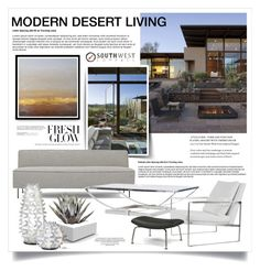 """Desert Living 2051"" by boxthoughts ❤ liked on Polyvore featuring interior, interiors, interior design, home, home decor, interior decorating, Gubi, Slamp, Vondom and Modernica"