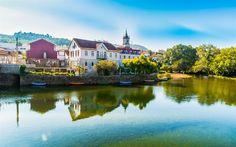 Download wallpapers Arcos de Valdevez, Old town, summer, river, Portugal