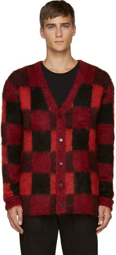 McQ Alexander Mcqueen Red Mohair Check Cardigan