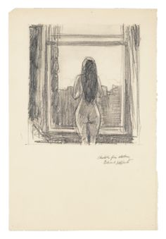 Edward Hopper Standing Female Nude by Window (Sketch for Etching), Graphite pencil on paper, 14 × 10 in. Whitney Museum of American Art, New York; Life Drawing, Figure Drawing, Drawing Sketches, Painting & Drawing, Drawings, Sketching, Edward Hopper, Rembrandt, Window Sketch