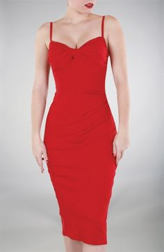 Sexy 1950's dress in Red, Enhancing Bust - Stop Staring! Clothing