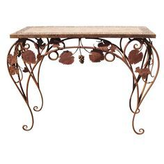 Wrought Iron And Tile Indoor Outdoor Console Table